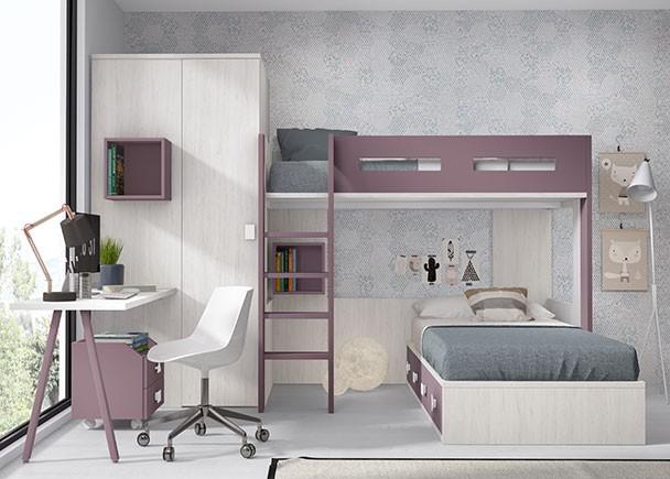 Habitaci n infantil con litera exenta y compacto de 4 for Habitacion con litera