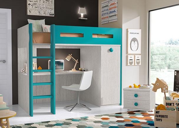 Litera exenta con zona estudio inferior y armario elmenut - Habitaciones infantiles merkamueble ...