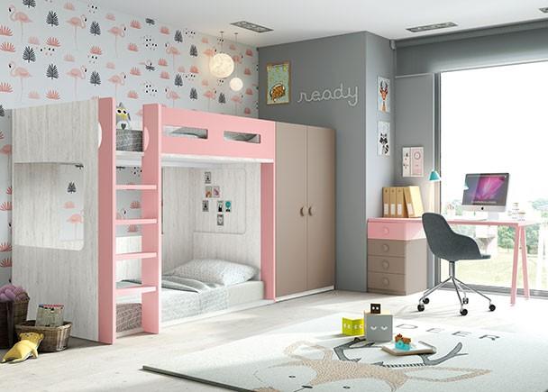 Habitaci n infantil con litera de 2 camas con base a suelo for Habitacion con litera