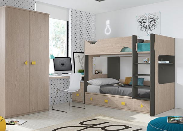 Habitaci n infantil con litera con base de 4 cajones elmenut for Habitacion con litera