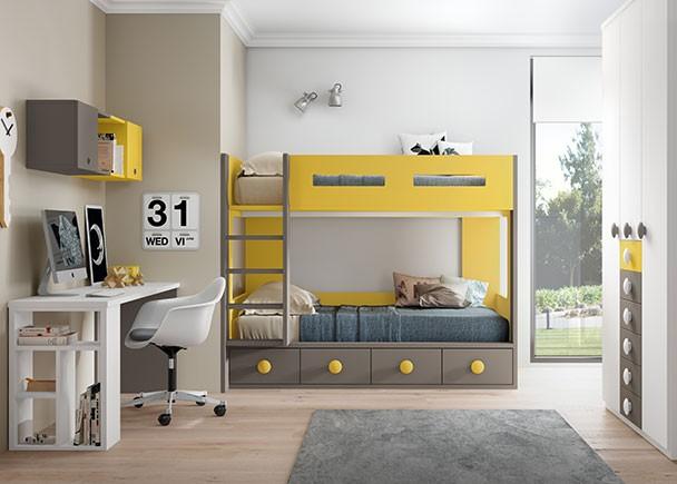 Dormitorio infantil con 2 camas tipo tren elmenut - Dormitorios 2 camas ...
