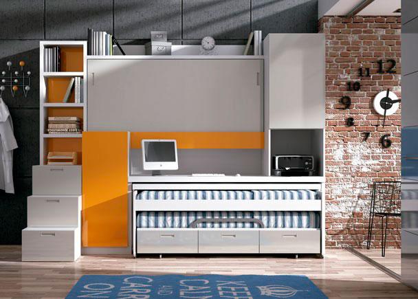 Habitación juvenil con mueble compacto autoportable con litera de 90x190, cama nido y dos armarios. Altura total 238,5 cm.