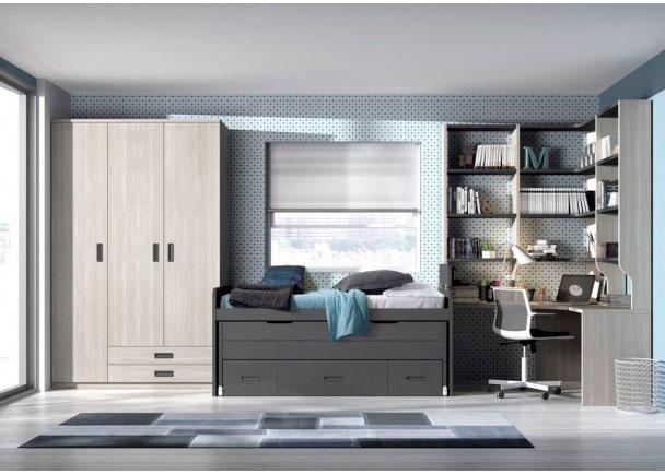 Dormitorio junvenil equipado con armario de 3 puertas con cajones vistos. La cama es un compacto con deslizante y cajones. Cuenta con zona estudio con