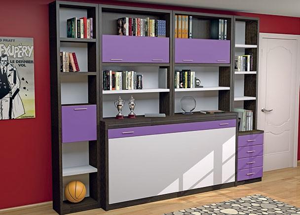 Juvenil con abatible horizontal de 90 x 190 con librería superior. A ambos lados se han colocado unas librerías, una con cajones vistos y otra con p