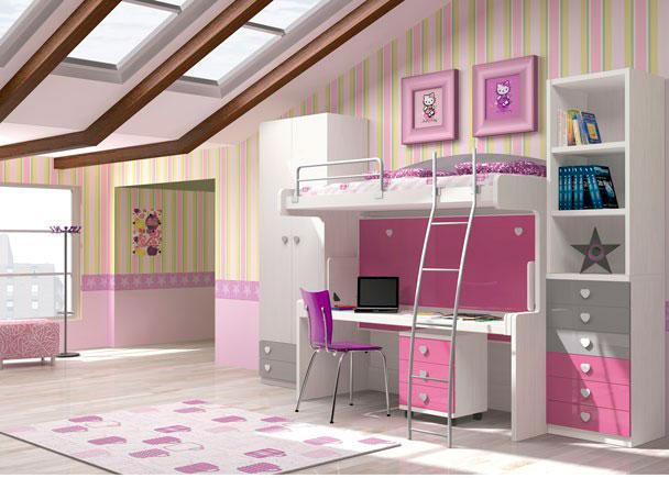 Dormitorio infantil con cama-mesa fija.La cama superior es para un colchón de 90 x 200 y la cama inferior es para colchón de 90 x 190.La