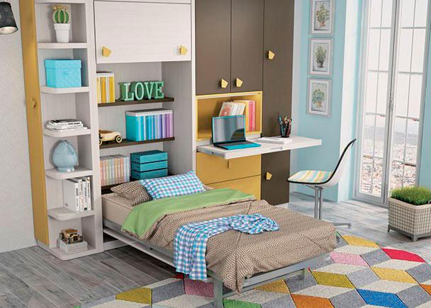 Habitacion infantil con cama abatible vertical de 105 x for Habitaciones juveniles abatibles