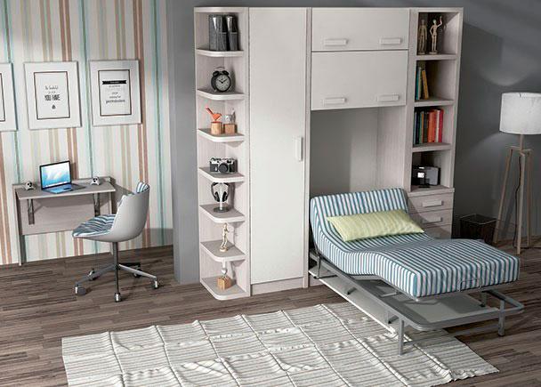 Habitaci n juvenil con cama abatible vertical el ctrica de - Habitacion juvenil cama abatible ...