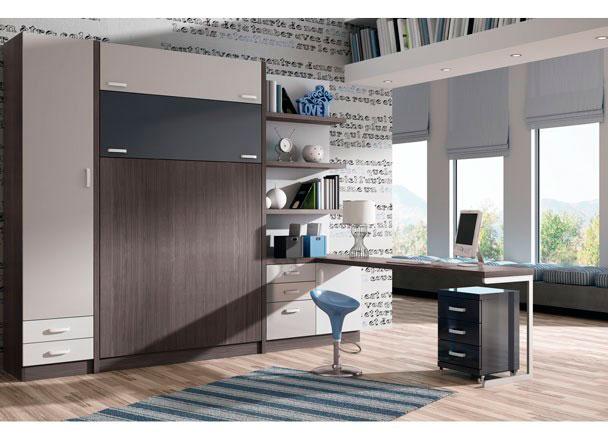 Dormitorio estudio con litera abatible vertical de 135 x for Habitaciones juveniles cama 135