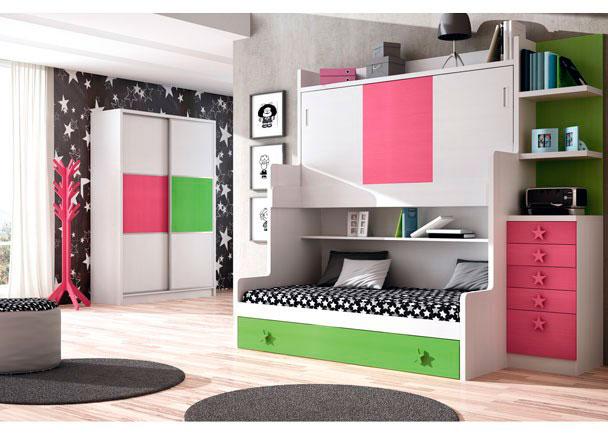 Habitaci n infantil con mueble compacto de 3 camas elmenut - Mueble infantil valencia ...