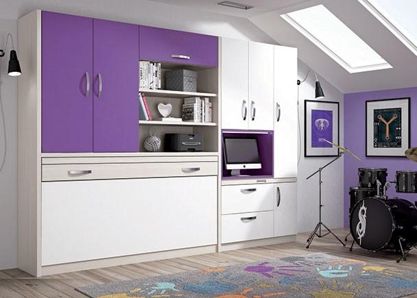 Habitaci n con cama abatible horizontal 90x190 elmenut - Habitacion juvenil cama abatible ...