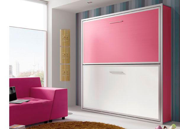 Dormitorio juvenil con cama doble horizontal para - Habitaciones juveniles camas abatibles horizontales ...