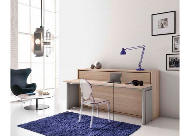Sal n con cama abatible y escritorio elmenut - Habitaciones juveniles camas abatibles horizontales ...