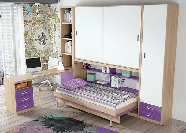 Juvenil con abatible horizontal armario corredero y - Habitaciones juveniles camas abatibles horizontales ...