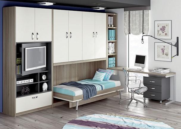 Dormitorio juvenil con cama abatible horizontal con for Habitaciones juveniles abatibles