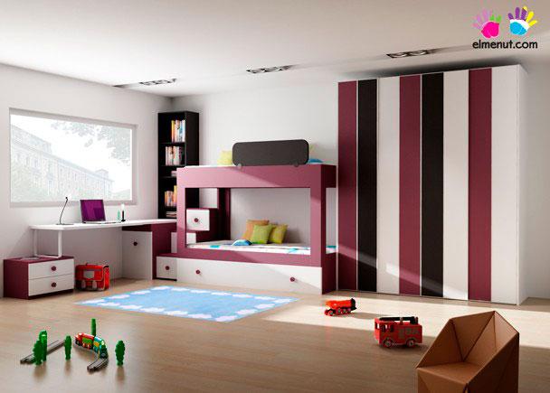 Dormitorio infantil moderno con litera con 3 camas elmenut - Dormitorios infantiles modernos ...