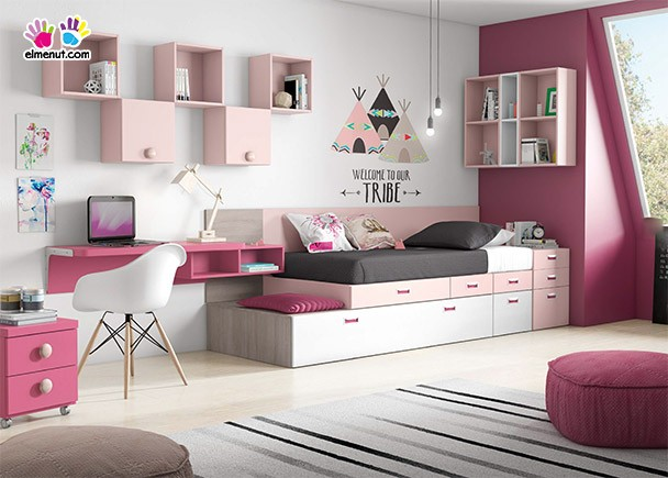 Cama abatible armario escritorio y estanter a elmenut for Dormitorios juveniles camas abatibles con escritorio
