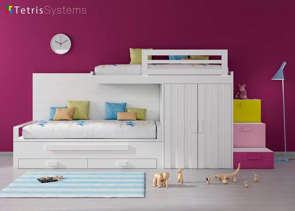 Habitaci n infantil tren y cama deslizante elmenut - Escalera cama infantil ...