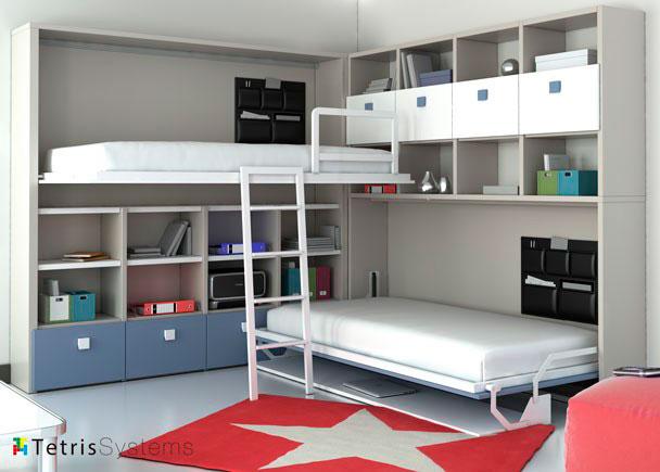 Habitaci n infantil literas abatibles elmenut for Habitacion con litera