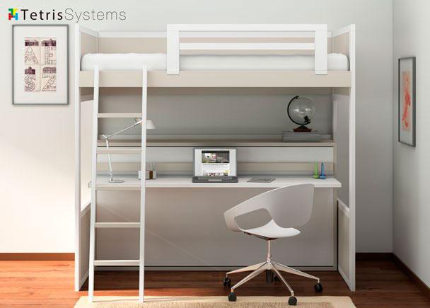 Litera rom ntica con cama abatible y escritorio elmenut for Camas juveniles con escritorio incorporado