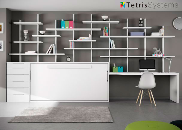 Cama abatible con escritorio y estanter a tetris elmenut for Recamaras juveniles con escritorio