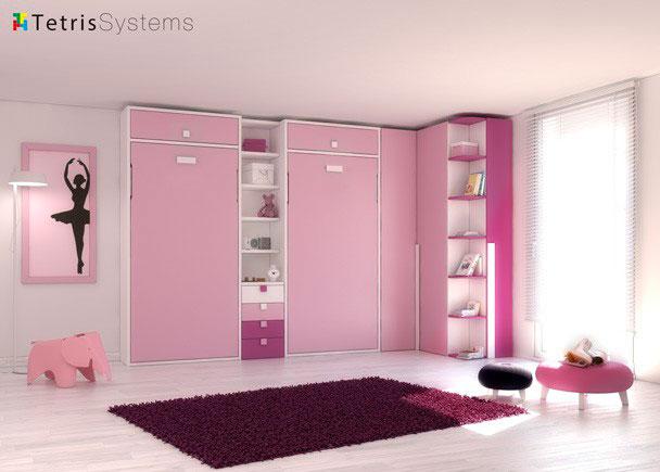 Habitación ideal tanto si es para invitados como para dormitorio de uso diario gracias a las camas abatibles verticales.