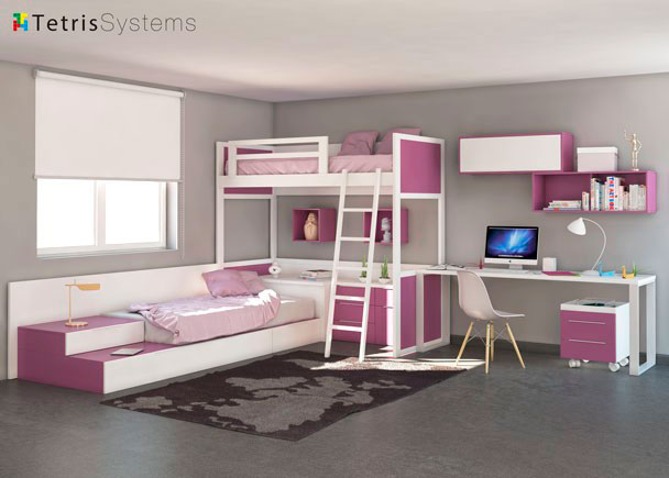 Cama alta y nido inferior tetris con escritorio elmenut for Dormitorios para ninas 3 anos
