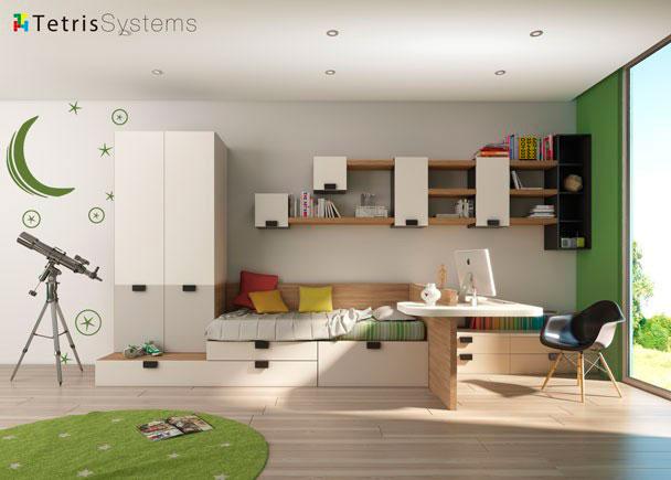 Habitaci n con armario estanter as y escritorio elmenut - Estanterias habitacion juvenil ...