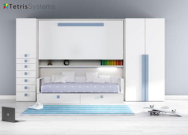 Habitaci n infantil con cama abatible y cama nido elmenut - Camas nido abatibles ...