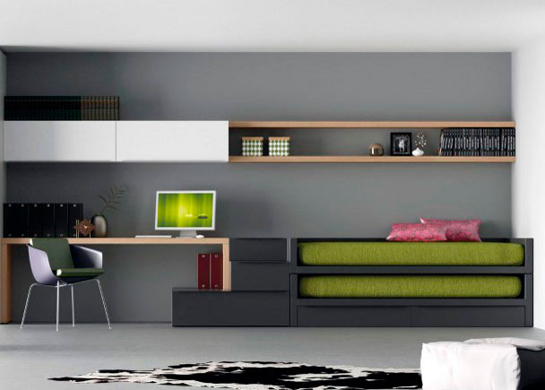 Juvenil minimalista con dos camas elmenut - Dormitorio juvenil con dos camas ...
