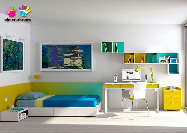 Dormitorio juvenil con escritorio elmenut - Escritorio dormitorio ...