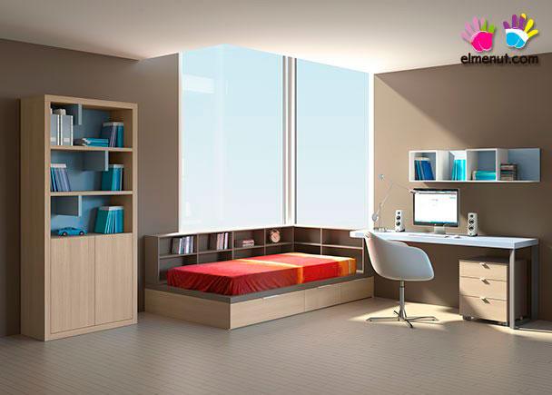 Dormitorio juvenil de linea minimalista equipado con un programa modular de acabados personalizables.Los elementos que aparecen en la presente imagen