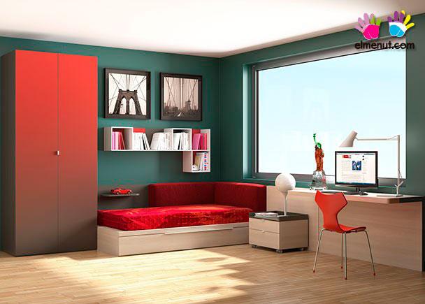Dormitorio juvenil equipado con una novedosa propuesta de muebles modulares en la que las combinaciones de color marcan un nuevo orden.Los elementos q