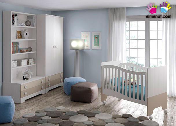 Habitación Infantil con cuna + Armario de 2 puertas + Librería con cajones.Los elementos que integran este ambiente son los siguientes:-Cuna Bic