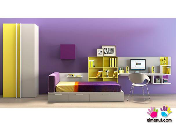 Dormitorio infantil de gran simplicidad en sus líneas, con el color como gran protagonista.