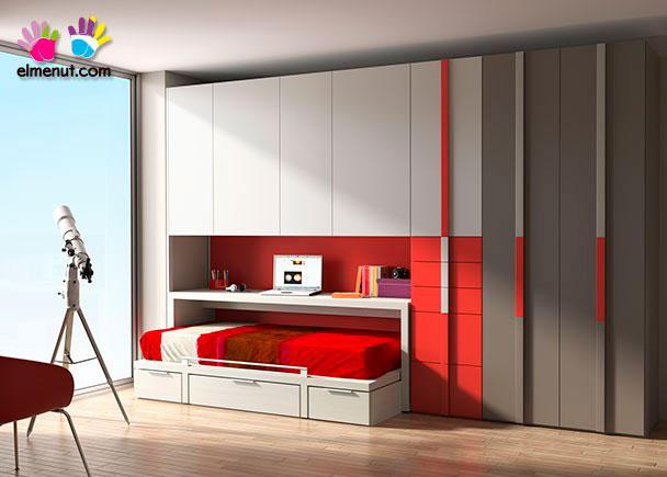 Habitación infantil en la que la simplicidad de lineas y el color son los grandes protagonistas.Los elementos que aparecen en la presente image