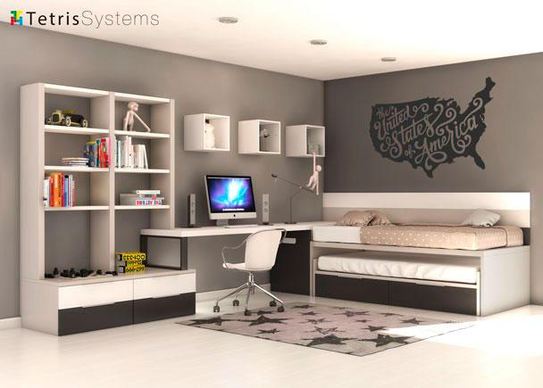Habitaci n juvenil con deslizante y escritorio elmenut - Habitacion juvenil 2 camas ...