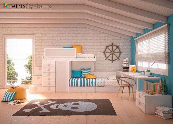 Habitaci n infantil con cama tren elmenut - Habitaciones juveniles tren ...