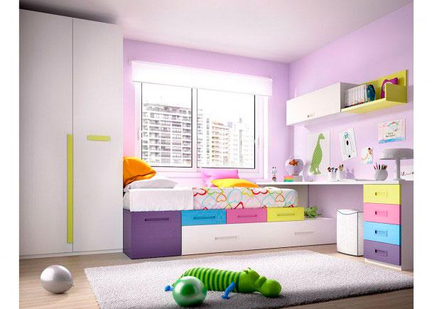 Dormitorio juvenil con nido escritorio y armario elmenut for Cama nido con cajones y escritorio