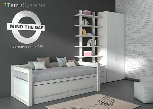 Dormitorio juvenil moderno con cama compacta deslizante con brazos de madera y cajones, cómoda con 3 cajones, estantería modular regulable y armario