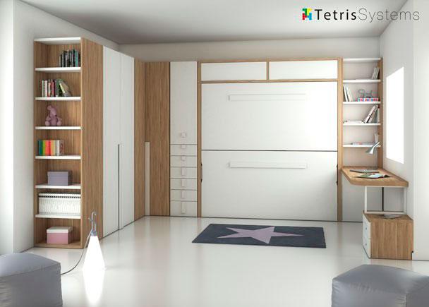 Litera doble abatible con escritorio y terminal elmenut - Precio pintar habitacion ...