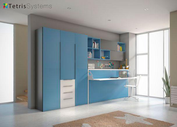 Cama abatible horiz escritorio plegable y armario elmenut for Dormitorios juveniles camas abatibles con escritorio