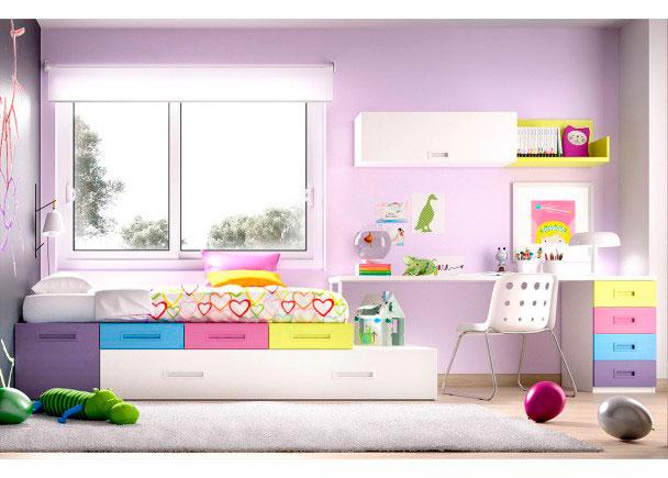 Habitaci n juvenil cama nido cajones y escritorio elmenut for Escritorio habitacion juvenil