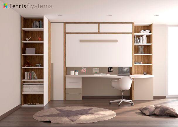 Juvenil cama alta plegable y escritorio especial elmenut for Escalera de cocina plegable