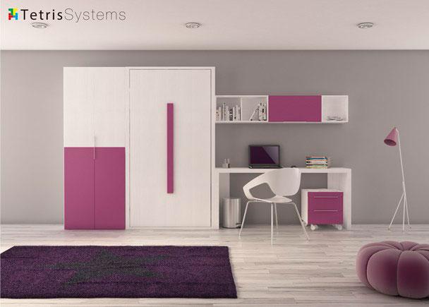 Cama abatible vertical, armario, escritorio