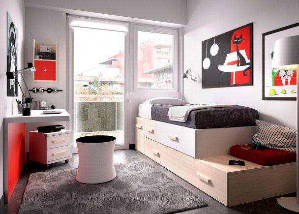 Dormitorio modular cama nido y escritorio elmenut for Escritorios para salon comedor
