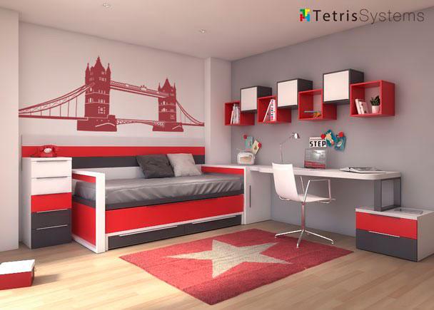 Dormitorio con cama deslizante para dos personas elmenut - Dormitorio juvenil con dos camas ...