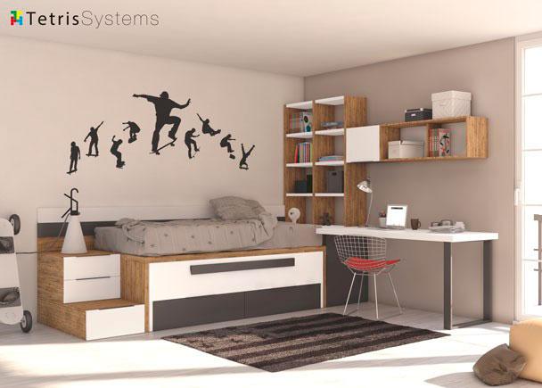 Dormitorio juvenil con cama deslizante para 2 personas