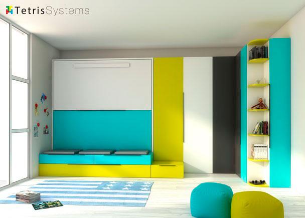 Habitación infantil con abatible + nido con armario