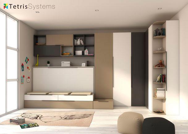 Dormitorio con cama abatible y nido 190x90 elmenut for Habitaciones juveniles abatibles