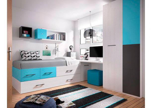 Juvenil con cama nido escritorio armario elmenut for Cama nido con cajones y escritorio